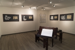 Kathryn Blair. Logical Conclusion. EM Media, Calgary AB. June 4 – 28 2018. Screenprinted images on blackboards, laser cut magnetic tiles, zines, frames, paper.