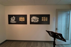 Kathryn Blair. Logical Conclusion. EM Media, Calgary AB. June 4 – 28 2018. Screenprinted images on blackboards, laser cut magnetic tiles, zines, frames, paper.